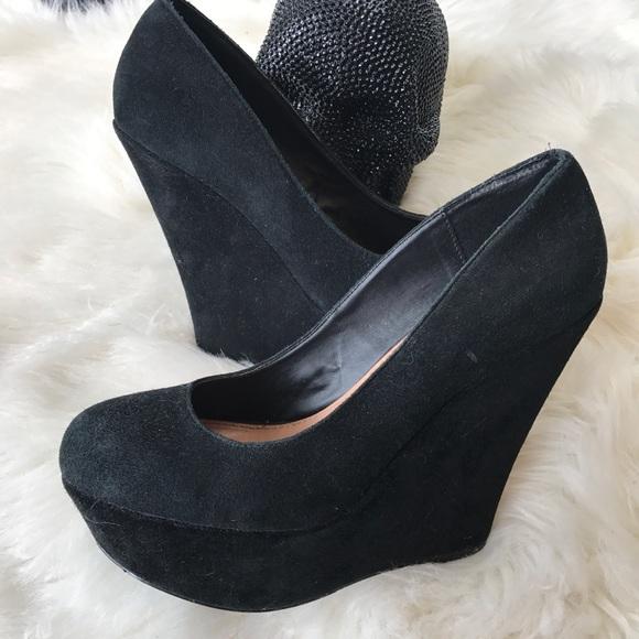 Black Platform Wedge Heels